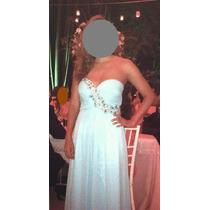 Hermoso Vestido De Noche Color Turquesa C/pedreria