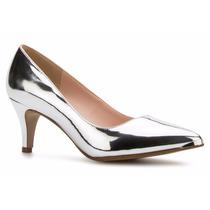 Elegantes Zapatos Zapatillas Andrea Plateadas Tacón Bajito