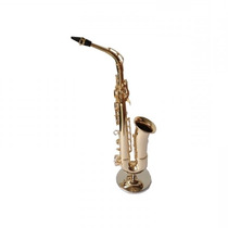 Miniatura Sax Alto Com Suporte Réplica Metal 32 Cm