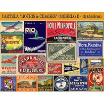 Cartela Com 18 Adesivos Retrô - Hoteis & Cidades -