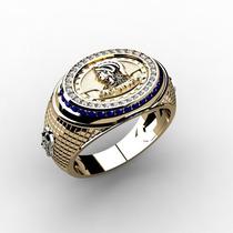 Anel Formatura Engenharia Ouro 18k Diamantes Safiras