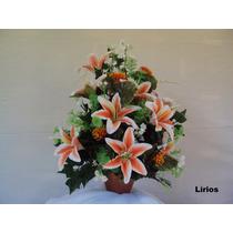 Arranjo Floral - Flores Artificiais De Seda - Lírios