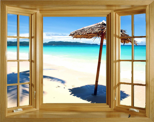 Adesivo de parede janela paisagem r 37 00 em mercado livre for La fenetre soleil