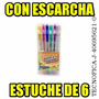 Boligrafos De Gel Escarchados De Colores 6 Paq (incluye Iva)