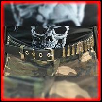 Cinturon Cuero Con Tachas Balas Cinto - Metal Heavy
