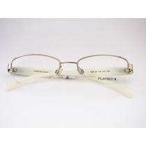 Armação Para Óculos Playboy Prata E Branca Feminina