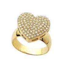 Anel Coração Ouro18k/750 Com 100 Pedras Diamante De 1 Ponto.