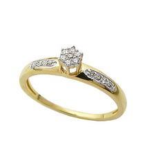 Anel Em Ouro 18k Chuveirinho De Diamantes De 1 Ponto!!