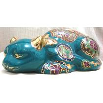 Gato Chique Verde Em Porcelana Chinesa Esmaltado Luxuoso