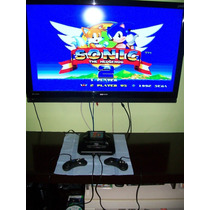 Mega Drive 3 Com 1 Jogos + 2 Controle Novos De 6 Botões