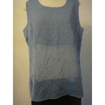 Camisa Blusa Em Tecido Amassadinho Azul Tam. G Camiseta