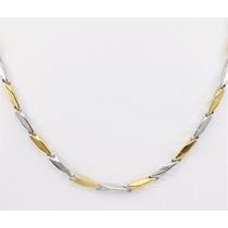 Cordão Masculino Espelhado Aço Inox 316lmaciço Prata&dourado
