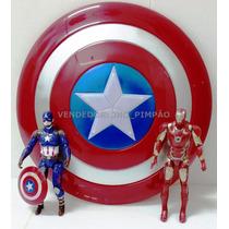 Escudo Capitão America Som E Luz + 2 Bonecos Kit