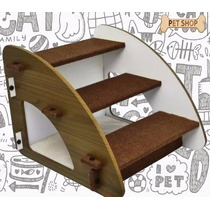 Escada Para Cães E Gatos Madeira Luxo 3 Degraus - Marrom -