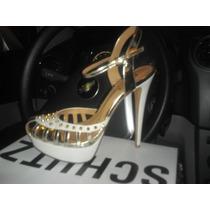 Sandália Branca Com Dourado Schutz Tam.38 Nova Spike Linda