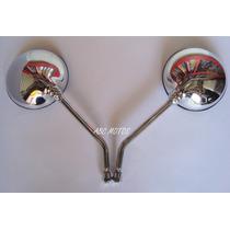 Espelho Retrovisor Cromado Cb 500 Lente Convexa O Par