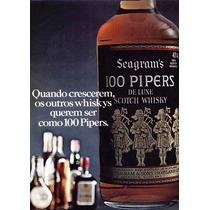 3709- Placa Decorativa Bebida Whisky 100 Pipers