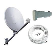 Antena 60cm Banda Ku + Lnbf Simples + 20m Cabo + Acabamento