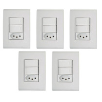 5 Conjunto Tramontina Liz 3 Interruptores Simples Ou Tomada