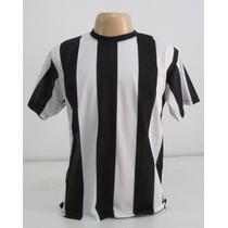 Camiseta Listrada Preta / Branco Vertical - Malha Fria