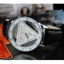 Relógio Pulseira De Couro Triângulo Invertido Com Brilho