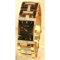 Relógio Elgin Diamond Gold Austrian Crystal Bracelet Watch
