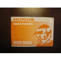 Honda Nx 350 Sahara 97 Manual Proprietário Original