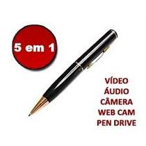 Caneta Filmadora Cores Gravador Voz Audio Memória 8gb Espiã