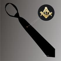 Gravata Preta Com Zíper E Boton Dourado - Maçonaria