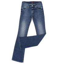 Calça Jeans Feminina Boot Cut Com Elastano Bolsos Bordados -