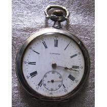 Reloj Longines De Bolsillo Plata Cincelada Sellado Funciona