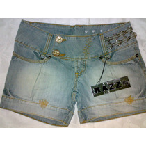 Bermuda Short Jeans Razzo Bordada Vários Detalhes Tamanho 36