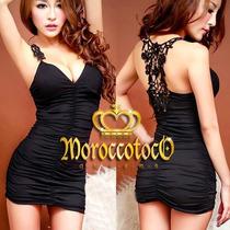 Mini Sexy Dress Vestido Remera Encaje Importado Art.3901