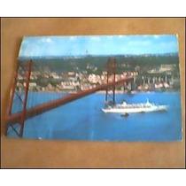 Cartão Postal Antigo- Ponte Salazar- Lisboa Portugal (navio)