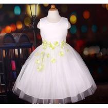 Vestido Infantil Festa/daminha/florista Com Flores Na Saia