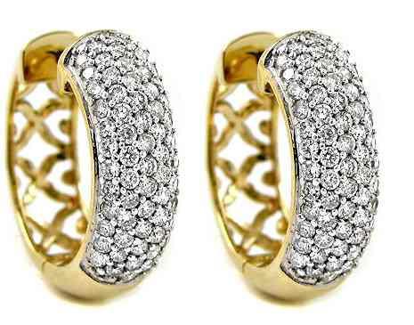 fe0d3dd6ad09d Par Brincos Argola Ouro Amarelo 18k 750 + Diamantes - R  3.448,85 em  Mercado Livre