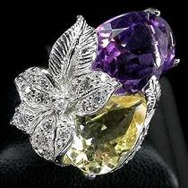 Aro 18 Anel Prata 925( Plaque Ouro 14k) Ametista,citrine