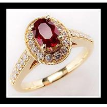 Anel Ouro 18k!com Rubi E Diamantes!!