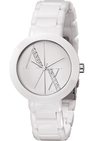 ef60291aac2 Relógio Armani Exchange Ax4055 Feminino Branco Com Strass - R  475 ...