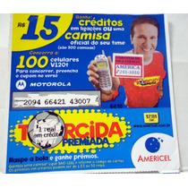 Cartão De Celular Prépago Cartela Americel Zico R$15 Raro