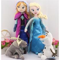 Kit 4 Bonecos Pelúcia Frozen Disney Princesa Ana Rainha Elsa
