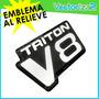 Emblema Camion Ford Triton V8 Relieve Resina Con Cromado