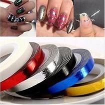 10 Fitas Metalizadas 3d Ondas - Nail Art - Frete Grátis