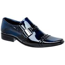 Sapato Social Em Couro Verniz Azul Gofer Franca Lançamento