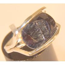 Rsp J4838 Anel Sun Prata 950 Safira Azul Noturno Frete Grát