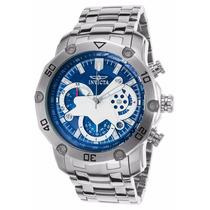 Relógio Invicta 22764 Pro Diver Prata Fundo Azul Com Caixa