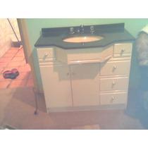 Armário Bancada De Banheiro Com Tampo Em Granito Negro