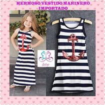 Vestido Largo Niñas Fashion Marinero Playa Sport Casual
