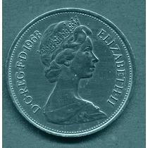 Moeda Inglaterra 10 Pence Elizabeth Ll Níquel 1968
