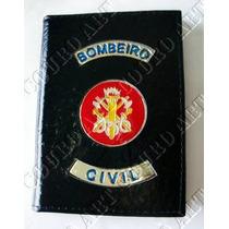 Carteira Bombeiro Civil - Preta - 100% Couro *